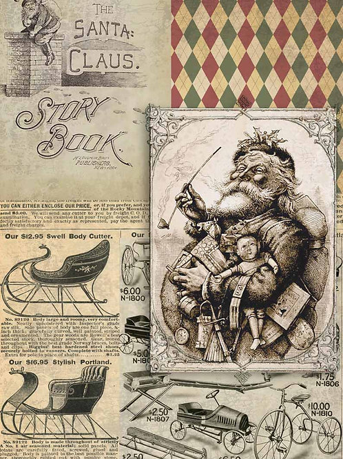 Christmas Santa Story Book, Decoupage Queen Rice Paper