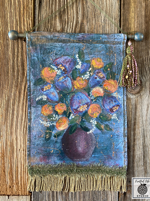 Boho Flora, Hand Painted, Wall Hanging