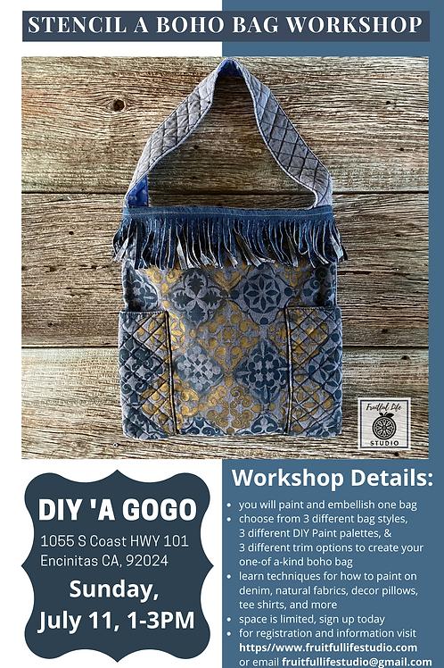 DIY Boho Bag Workshop Online & In Person at DIY 'a Gogo in Encintias