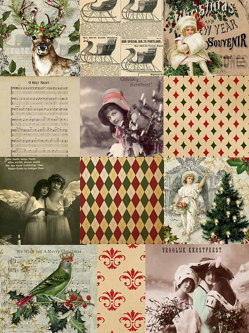 Christmas Squares, Decoupage Queen Rice Paper