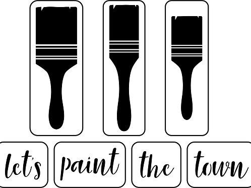 Let's Paint the Town, Paintbrush Set, JRV Stencil Set
