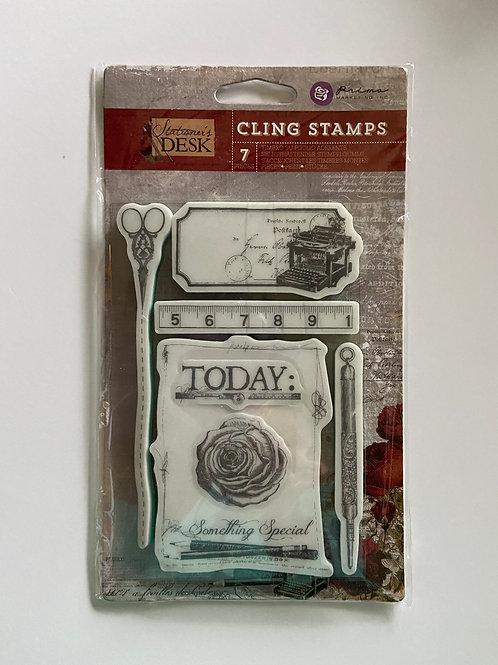 Stationer's Desk Cling Stamps 7 Pieces