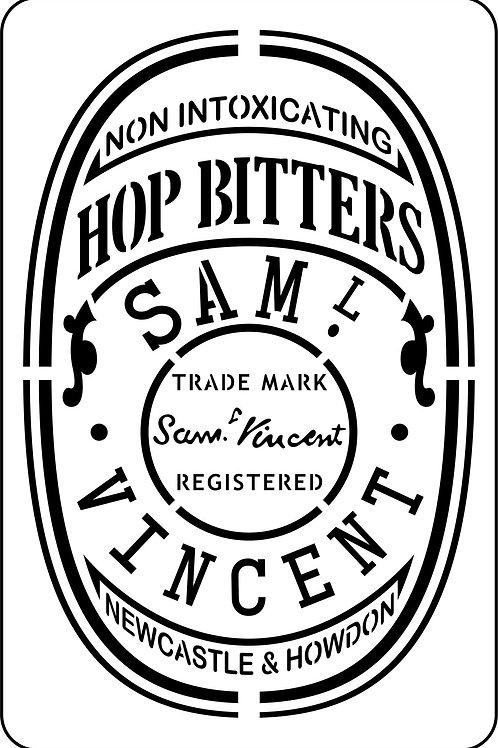 Hop Bitters Label, JRV Stencil