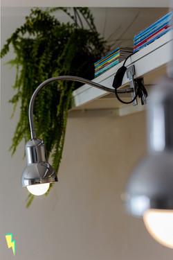 Detalhe de luminária garra cromada com livros e samambaia ao fundo