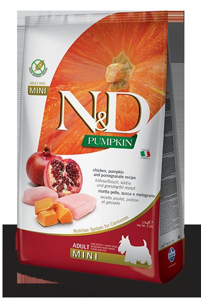 FARMINA N&D Grain Free Potiron Poulet & Grenade Adulte Mini 2.5kg