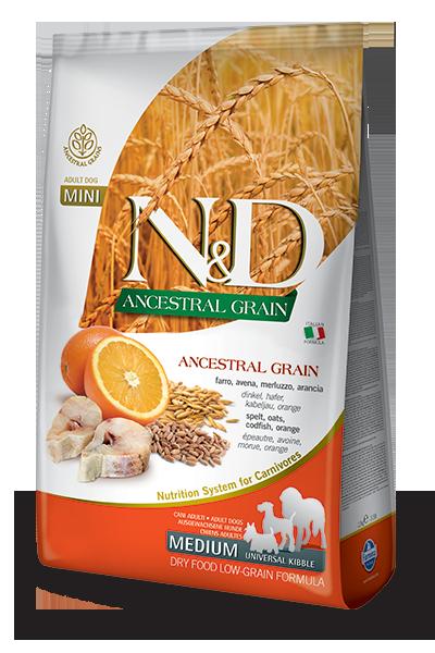 FARMINA N&D Low Grain Morue & Orange Chien Adulte MEDIUM MAXI 12kg
