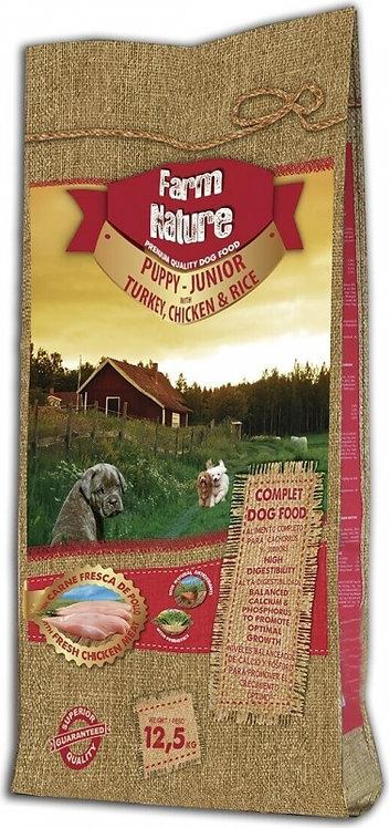 FARM NATURE Puppy & Junior à la Dinde, Poulet & Riz pour Chiot