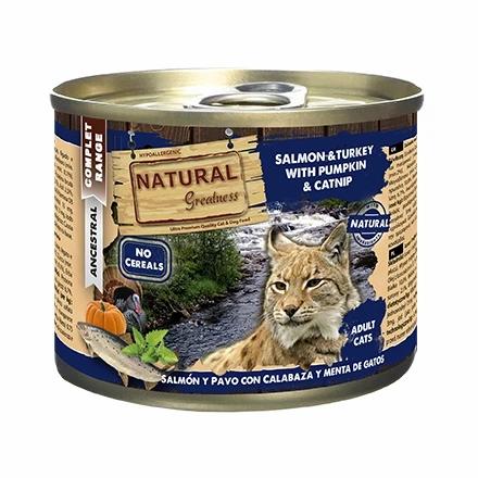 Natural Greatness Boîte patée lot de 10  Saumon/Dinde/citrouille Chat Adulte