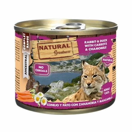 Natural Greatness Boîte patée 10x 200g Lapin Canard pour Chat Adulte