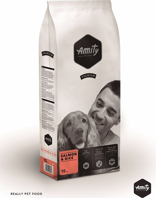 Croquettes AMITY premium saumon et riz pour chien adulte chez animaxishop