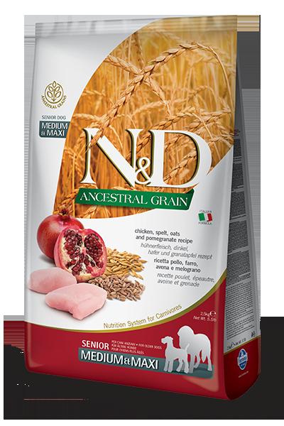 FARMINA N&D Low Grain Poulet & Grenade Chien Senior Medium/Maxi 12kg