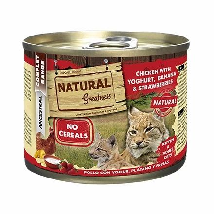 Natural Greatness Boîte patée  Poulet/yahourt/banane/fraise pour Chat Adulte