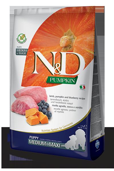 FARMINA N&D Grain Free Potiron Agneau & Myrtille Chiot Medium & Maxi 12kg