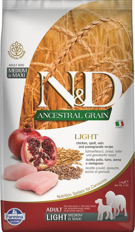 FARMINA N&D Low Grain Poulet & Grenade Chien Adulte Light Medium/ maxi 12kg