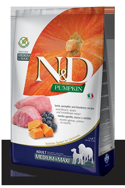 FARMINA N&D Grain Free Potiron Agneau & Myrtille Adulte Medium & Maxi 12kg