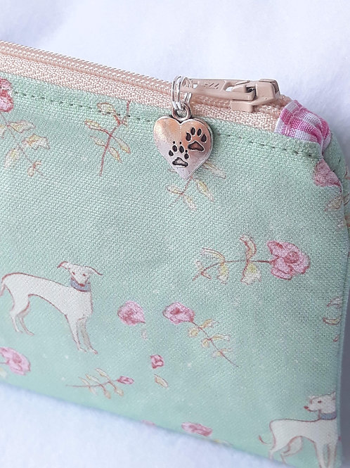 Pretty Pale Green & Rosebuds Greyhound / Whippet Purse