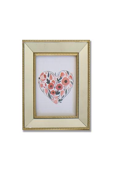 Cuadro Corazón - marco Dorado espejado - (cod:CB03)