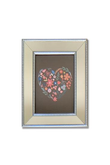 Cuadro corazón colores - marco plata espejado - (cod: CC32)