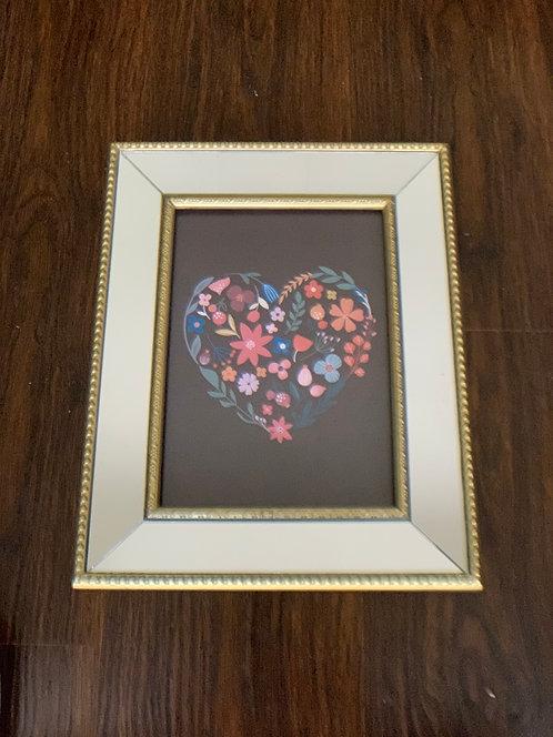 Cuadro corazón colores - marco dorado espejado - (cod: CC31)