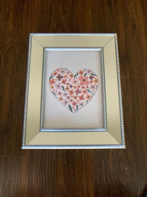 Cuadro Corazón II- marco plata espejado - (cod:CB14)