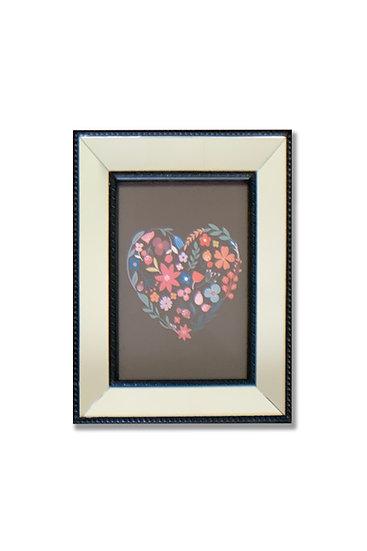 Cuadro corazón colores - marco negro espejado - (cod: CC33)