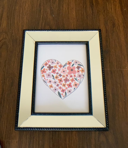 Cuadro Corazón II- marco negro espejado - (cod:CB12)