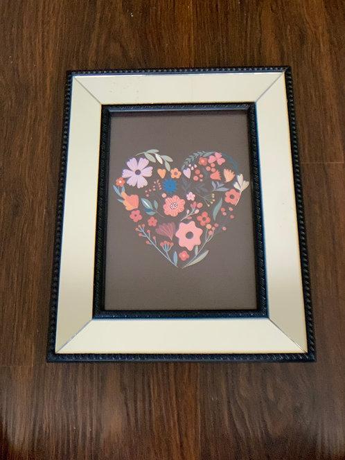 Cuadro corazón colores II - marco negro espejado - (cod: CC39)