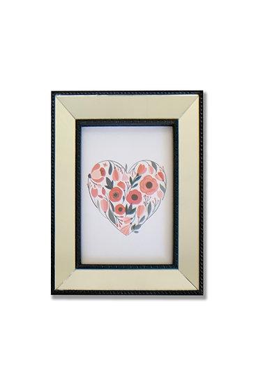 Cuadro Corazón - marco negro espejado - (cod:CB02)