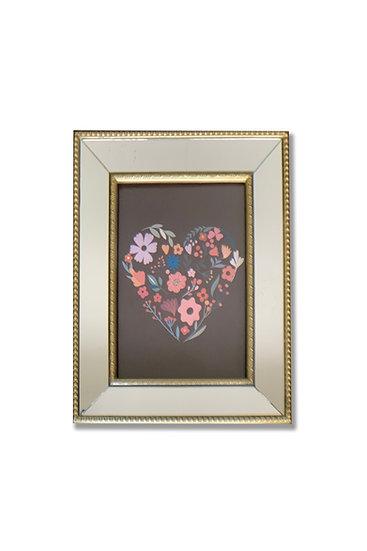 Cuadro corazón colores II - marco dorado espejado - (cod: CC38)