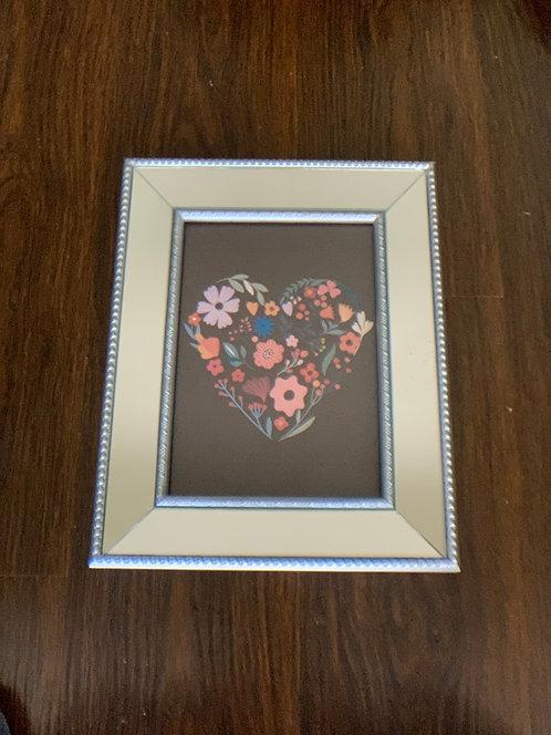 Cuadro corazón colores II - marco plata espejado - (cod: CC37)