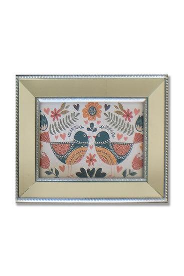 Aves Colores - marco plata espejado - (cod: AV02)