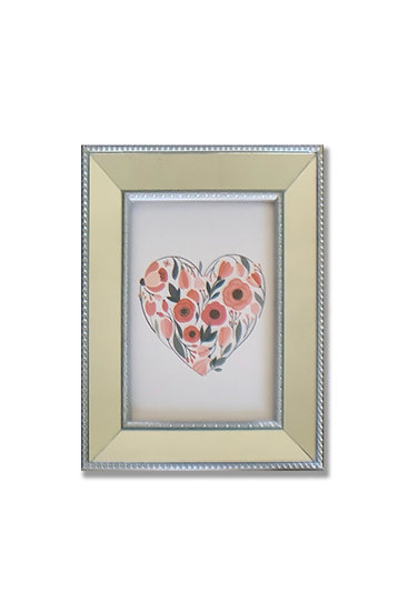 Cuadro Corazón - marco plata espejado - (cod:CB04)