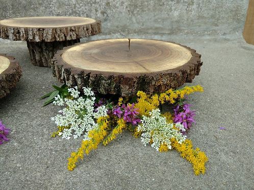 Set of 3 Tiered Wood Disc Stands