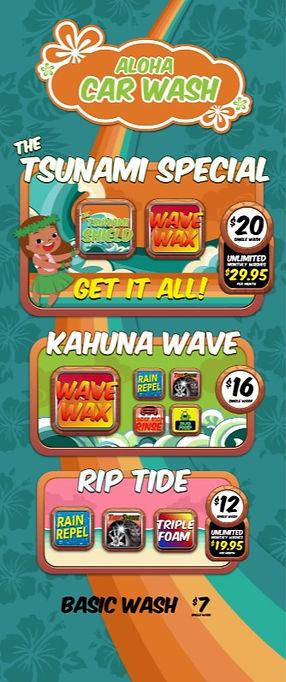 Aloha Car Wash Tsunami Menu Insert 10031