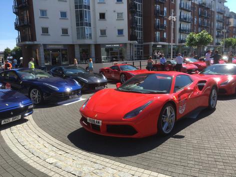 Ferraris at Gunwharf Quays, Portsmouth, UK.
