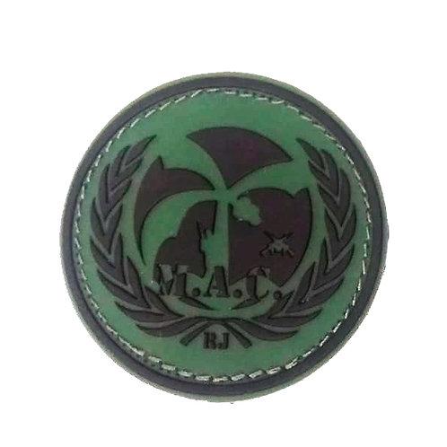 Patch Brasão MAC Emborrachado Preto e Verde com Velcro