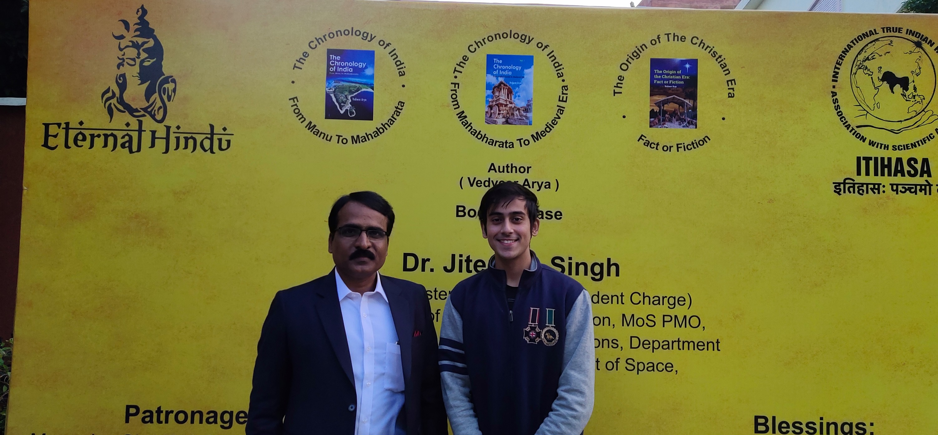 Abhinandan Kaul With Author And Indologist Ved Veer Arya At His Book Launch