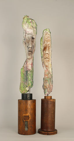 "Liz Rae Dalton, 'Galloo Ridge Crew', encaustic/wood, 30""x5"" and 28""x5"""