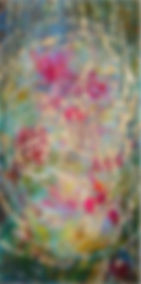 Rose Vortex, Wood Panel, Encaustic, 2' x
