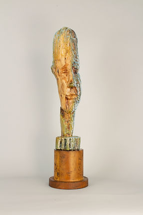 "Liz Rae Dalton, 'The Young Mariner', encaustic/wood, 24""x7"""