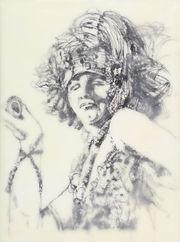 "Liz Rae Dalton, The Baroness (Vitality), ink, paper, encaustic on panel, 9""x12"""