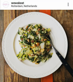 """Plant based Dutch comfort food """"miso stamppot"""" with leek and kale and peanut"""