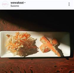Root vegetables salad with yuzu miso x roasted sesame dressing, Carrot miso nuka zuke