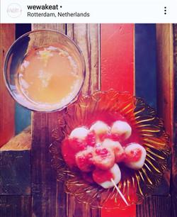 Pink miso shiratama-mochi with Orange ginger sparkling miso drink