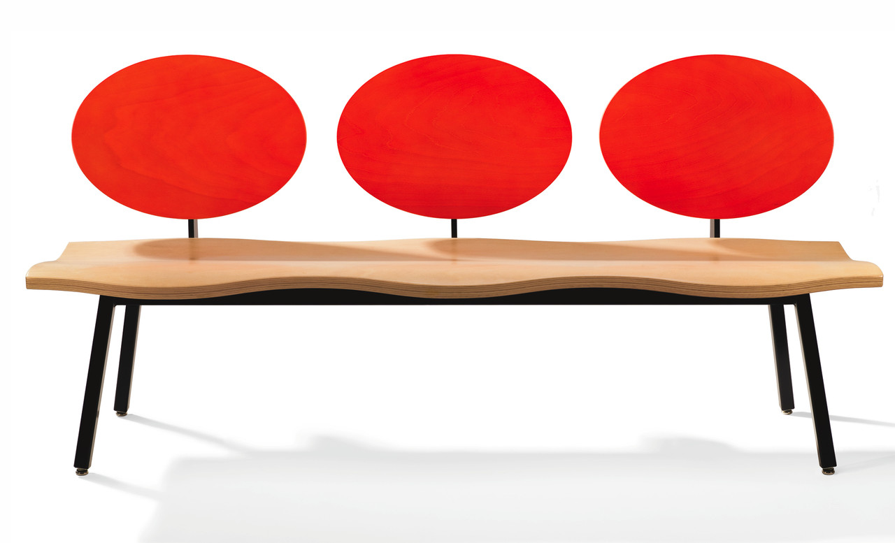 Zinnia Bench. Red lacquered backrest, natural wood seat, black powder coat.