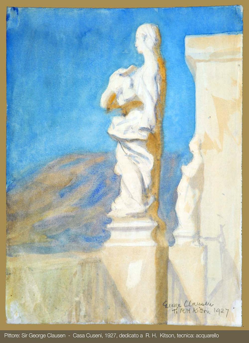 Acquerello di George Clausen - 1927 Casa Cuseni - Taormina