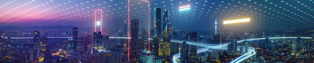 Smart city and abstract polygon pattern