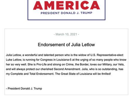 President Donald J. Trump Endorses Julia Letlow for Congress