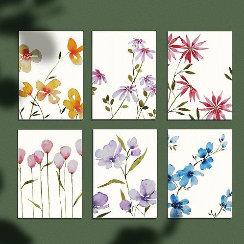 Set 6 bloemen ansichtkaarten