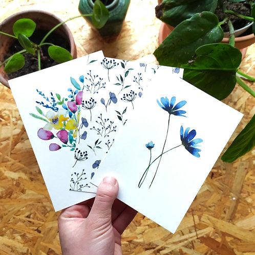 Set 3 ansichtkaarten met bloemen